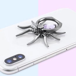Wholesale 2019 metal Spider Bling Finger Ring Holder Rotate Phone StandDiamond Mobile Phone Holder Finger Stand for iphone samsung smartphone
