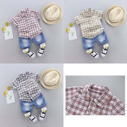 Shirt Styles For Girls Australia - 2019 trend style summer cotton shirt grid pattern with short sleeve shirt and shorts two pieces for boys and girls