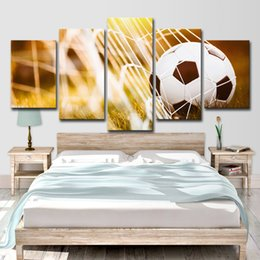$enCountryForm.capitalKeyWord Australia - HD Printed 5 Piece Canvas Art Soccer Match Net Painting Wall Pictures for Living Room Modern Free Shipping