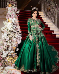 emerald green gold lace UK - Formal Emerald Green Evening Dresses with Long Sleeves Luxury Sparkly Gold Lace Detail Moroccan Princess Romeo Plus Size Prom Gowns