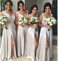 $enCountryForm.capitalKeyWord Australia - Sexy Slit Long Bridesmaid Dresses 2019 Lace Appliques Plus Size Maid of Honor Chiffon Prom Dresses Wedding Guest Dress