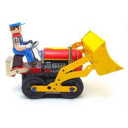 $enCountryForm.capitalKeyWord Australia - [Funny] Adult Collection Retro Wind up toy Metal Tin bulldozer worker Construction vehicle car Clockwork toy figure vintage toy