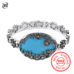 blue resin bangles NZ - Antique 925 Silver Bracelet Individuality Flower Jewelry Big Blue Resin and Black Crystal Jewelry for Women Bangle Party Gifts