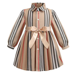 tutu length age UK - Girls Stripe 100% Cotton Long Sleeve Dress For Girl Children Cardigan Bow England Style Dress Baby Priness Dresses For 3-7 ages Children