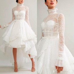 c84a73e6efac Ashi Studio 2019 Evening Dresses A Line High Neck Hi-Lo Long Sleeves Lace  Appliques White Formal Prom Dress Arabic Special Occasion Gowns
