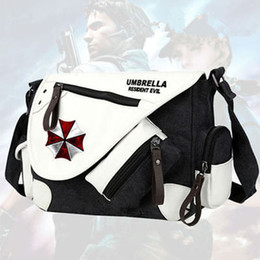 Discount resident evil gifts - New Resident Evil Umbrella Canvas Handbag Shoulder Bag Casual Zipper Bag Crossbody Bags Schoolbags Messenger Cosplay Gif