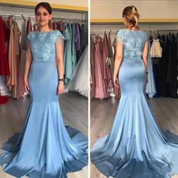 6e8cd5e6ee2 Knee Length Dresses Plus Size Taffeta UK - 2019 Dusty Blue Mermaid Mother  Of The Bride