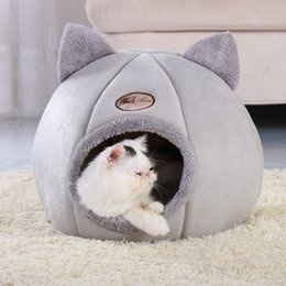 small house puppies Australia - Removable Cat Bed Warm Pet Cat House Cave Winter Puppy Kitten Dog Cushion Mat Small Dogs Cats House Kennel Nest Indoor Cama Gato Y200330