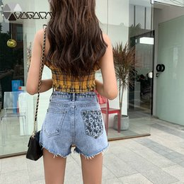 Wholesale 2019 Jeans Woman Cartoon Mouse Print Denim Shorts Embroidery Loose Straight Jean Summer High Waist Ripped Jeans For Women