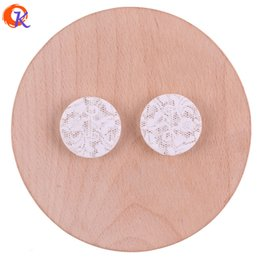 rose acrylic UK - wholesale 25mm 100Pcs Acrylic Beads Jewelry Making Print Beads White Rose Print On Bead Coin Shape Bead Earring Findings