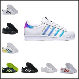 Hologram Shoes NZ - Super Star White Hologram Iridescent Junior Superstars 80s Pride Womens Mens Trainers Superstar Casual Shoes Size 36-45