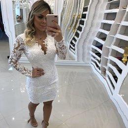 $enCountryForm.capitalKeyWord Australia - wholesale White Mini Short Prom Dresses 2019 Long SleevesApplique Pearls Fashion Party Dresses Plus Size Customize