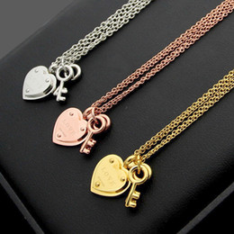 Love Key Lock Pendant Australia - New Arrive Fashion Lady 316L Titanium steel Lettering 18K Plated Gold Double Necklaces With Lock and Two Keys Love Pendants
