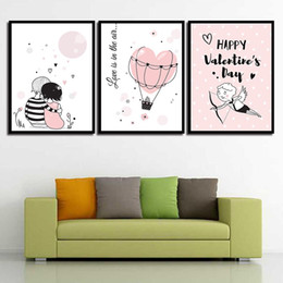 Art Canvas Prints Australia - Nordic Cuadros Posters And HD Printed Lovers Hot Air Balloon Decoration Wall Art Canvas Painting Pictures For Living Room