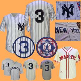 88471fb8b Babe Ruth Jersey New York Boston Home Away White Pinstripe Grey Cream Black  All Sitched Men M-3XL