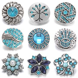metal snap flower buttons Australia - Noosa New Metal Snap Jewelry 18mm Charm Rhinestone Flower Snap Button Fit Snap Bracelet Necklace for Women Chunk Jewelry