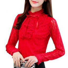 plus size lace ruffled blouses NZ - 2017 Autumn Plus Size Tops Women Red Lace Shirts Ladies Fashion Ruffles Blouse Femininas Long Sleeve Dentelle Blusas Mujer