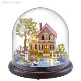 Dollhouse miniatures online shopping - NEW B021 Diy Doll House Mini Glass Ball Model Building Kits Handmade Wooden Miniature Dollhouse Toy Christmas Gift