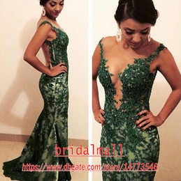 EmErald grEEn backlEss mErmaid drEss online shopping - Emerald Green Lace Mermaid Evening Dresses African See through Long Prom Dress Sexy Backless Formal Party Gowns Custom Robes de soiree