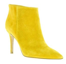 Women Ankle Booties UK - 2019 Autumn Winter Women Ankle Boots high heels suede leather booties yellow point toe party shoes new motorcycle bota