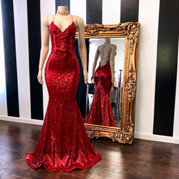 dress chiffon lace real sample UK - Sparkly Sequin Prom Dresses Long 2019 Real Sample V-neck Sexy Backless Custom Made Red Mermaid Graduation Dresses