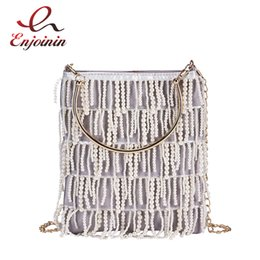 Ladies Fringed Handbags Australia - String Pearl Fringed Metal Handle Pu Casual Ladies Handbag Shoulder Bag Crossbody Messenger Bag For Women Bolsa Flap Totes
