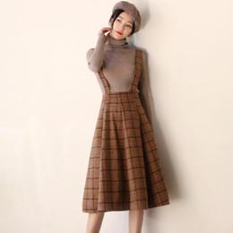 $enCountryForm.capitalKeyWord Australia - Japan Mori Girl Sundress New Fashion Autumn and Winter Women Sleeveless Vest Brown Plaid Woolen Dresses Spaghetti Strap Vestidos T5190614