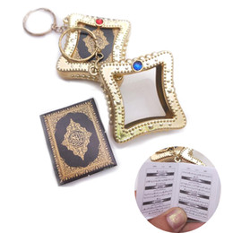 paper chains wholesale Australia - fashion Muslim Keychain Resin Islamic Mini Ark Quran Book Real Paper Can Read Pendant Key Ring Key Chain Religious Jewelry