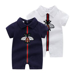 China 2019 Summer New Style Short Sleeved Girls Dress Baby Romper Cotton Newborn Body Suit Baby Pajama Boys Lapel Solid Color Rompers suppliers