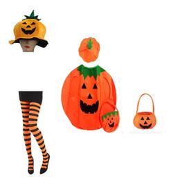 Wholesale sugar adult online – design Halloween Pumpkin Top Coat Sugar Hand Bags Hat Festival Gift Adult Women Men Funny Costume Dress Outfit For Kids Child Boys Girl