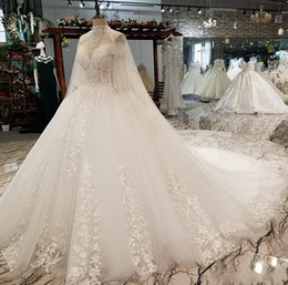 Wholesale plus size lace shawl resale online - 2019 Luxury Dubai Arabic Crystals A Line Wedding Dresses With Shawls Long Sleeves High Neck Lace Appliqued Plus Size Bridal Gown