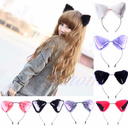 Anime cosplAy red hAir online shopping - Fashion Girl Cute Cat Ear Long Fur Hair Headband Anime Cosplay Party Costume
