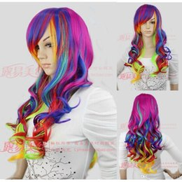 $enCountryForm.capitalKeyWord Australia - Cosplay Colours Gradient Long Wavy Curly Wig Harajuku Fashion Rainbow Hair Wigs>>>>Free shipping New High Quality Fashion Picture wig