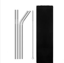 6 unids / set Pajas de Beber Pajas de Beber Reutilizables de Acero Inoxidable de Alta Calidad Paja de Beber de Plata Metálica Doblada con Cepillo CCA10768 100 set