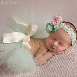 Discount cute babies photos flowers - One Set Newborns Costume Baby Cute Skirts And Flower Headband Photo Photography Prop Clothes And Accessories KYY8010-3