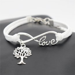 tree life pendant bracelet Australia - Vintage Infinity Love Christmas Life Tree Pendant Jewelry Women Men Braided Handmade White Leather Suede Rope Wrap Bracelets & Bangles Gifts