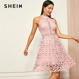 af5e7c9282 Shein Going Out Pink Party Halter Neck Lace Skater Sleeveless Halter Short  Dress Summer Modern Lady Casual Women Dresses Q1904011 Q1904012