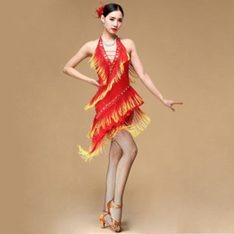 Women latin dance costumes online shopping - New Performance Ballroom Dancing Salsa Dance Dresses with Tassels Samba Carnival Costumes Latin Dance Dress Women