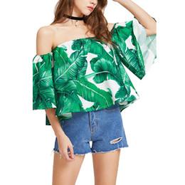 $enCountryForm.capitalKeyWord NZ - Women Summer Fashion Tops Half Sleeve Printed Falbala Boat Collar Shirt Girls Sexy Off Shoulder Off Collar Strapless Tops