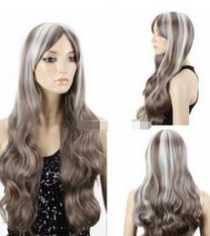 $enCountryForm.capitalKeyWord Australia - FREE SHIPPIN + ++ Women's Grey White Mixed Long Wavy Curly Hair Cosplay Party Vogue Full Wig