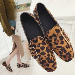 $enCountryForm.capitalKeyWord Australia - Mini2019 Velvet Shallow Seasonal Noodles Low With Single Shoe Leopard Print Belt Buckle Dawdler Two Clothes Women's Shoes