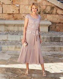 $enCountryForm.capitalKeyWord Australia - Gorgeous Dusty Rose Pink Mother Of The Bride Dresses Short Sleeves Jewel Tea-Length Plus Size Groom Suits Gowns Weddings Wear