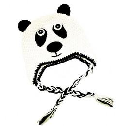 Infant Spring Hats NZ - Lovely Knit Baby Panda Bear Hat,Handmade Crochet Baby Boy Girl Animal Earflap Hat,Infant Spring Winter Cap,Newborn Funny Photo Prop