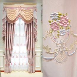 $enCountryForm.capitalKeyWord Australia - New high-precision pink princess style Jane European embossed bedroom jacquard curtain fabric Nordic light luxury floor curtain
