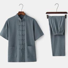 $enCountryForm.capitalKeyWord Australia - Summer New Men Shirt&Pant Chinese Mandarin Collar Tai Chi Tang Suit Traditional Single Breasted Set Plus Size 3XL 4XL