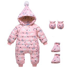 infant baby boy winter overall NZ - Baby Winter Clothes Girl Boys Romper Warm Snow Wear Infant Baby Overalls Long Sleeve Hooded Outerwear White Duck Down Snowsuit CJ191130
