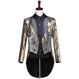 tailcoats costumes Australia - Men Gold and Silver Sequin Tailcoat Mens Tailcoat Costume Men Tuxedo Steampunk Long Singer Jacket