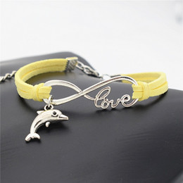 Bracelets Lovely Charming Australia - New Weave Vintage Punk Infinity Love Animal Lovely Dolphin Women Men Charm Bracelets & Bangles Yellow Leather Suede Cuff Punk Jewelry Gift