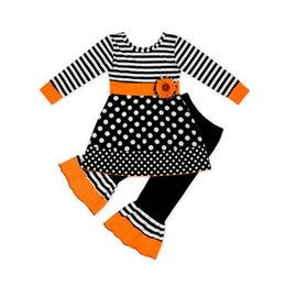 wholesale designers clothes UK - Baby Girls Pants Suit Girls Halloween Striped Polka Dot Long Sleeve Dress Kids Designer Leisure Clothing Elastic Striped Flare Pants Set