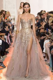 $enCountryForm.capitalKeyWord Australia - 2019 Elie Saab Sparkly Prom Dresses Sweetheart Sequined Shiny Side Split Evening Gowns Sweep Train Formal Party Dress Custom robes de soirée
